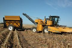 The OXBO 8430 combine for cleaning of seed and
