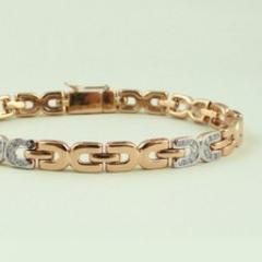 Браслет из красного золота 585 пробы с бриллиантами BC-6542/4