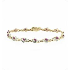 Браслет из красного золота 585 пробы с топазами и бриллиантами BCT-6098/9