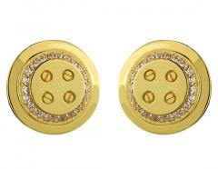 Золотые запонки 585 пробы c фианитами, артикул