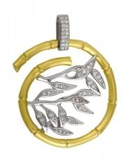Gold pendent of the 585th test with diamonds, the