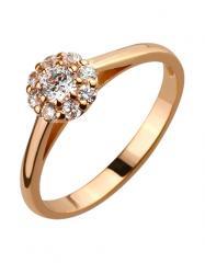 Золотое кольцо 585 пробы с фианитами, артикул