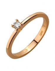 Золотое кольцо 585 пробы с бриллиантом, артикул