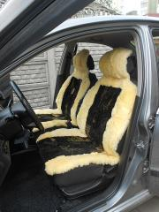 Automobile covers from a sheepskin of yellow color