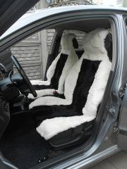 Automobile covers from a sheepskin of white color