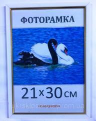Фоторамка пластиковая 21х30,  А4,  166-65