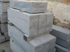Stone blocks sawn and chipped of a pencil