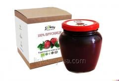 Brusnichnaya paste of 100% lingonberry fruit,