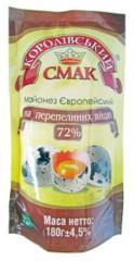 Майонез європейський на перепелиних яйцях (европейский на перепелиных яйцах) 72%, 180 г
