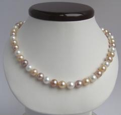 Necklace from color pearls of 9 mm