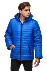 Long men's winter jacket with a hood.