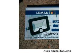 Прожектор LED 10w 6500K IP65 800LM Lemanso со встроенным датчиком чёрный/ LMPS15