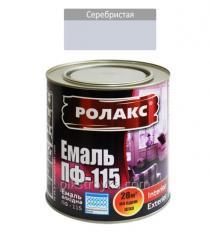 Эмаль алкидная серебристая ПФ-115К 0,9кг Ролакс 1/12