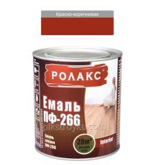 Эмаль алкидная красно-коричневая ПФ-266К 0,9кг Ролакс 1/12