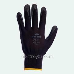 Перчатки рабочие черные ладонь-нитриловая с доп.