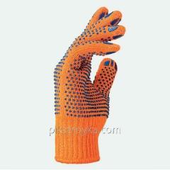 Перчатки рабочие оранжевые с рисунком ПВХ точка