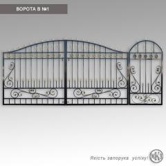 Металлические ворота с коваными элементами