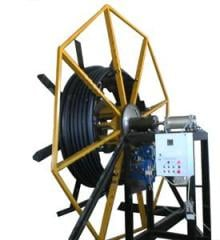 The device for winding of polyethylene pipes in