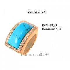 Золотое колечко с бирюзой к-320-074