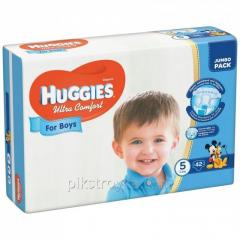 Los pañales 5 12-22кг 42шт uitra comfort Huggies para los muchachos