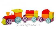 El juguete de madera el tren el rápidos LР-3 iridisciente el Cubo 1/1
