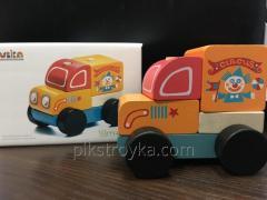 El juguete la máquina de madera putishestvuyuschy el circo LM-7 el Cubo 1/1