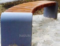 Лавка (скамья) садово-парковая без спинки с бетонным основанием №6