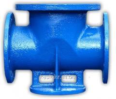 Support under a hydrant (double) DU100/300 PPDF cast iron/steel through passage