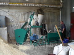 Production line pellet from sawdust with a