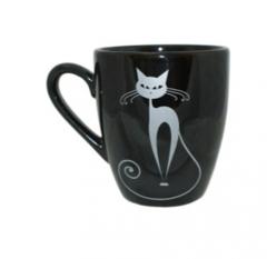 Кружка Европа  полноцвет чёрный с деколью Серебряные Коты