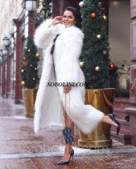 Long fur coat from raccoon fur - an albino color