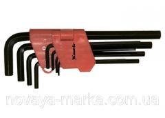 Набір ключів імбусових HEX, 1,5-10 мм, CrV, 9 шт., оксидовані, подовжені MTX 112319