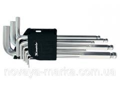 Набір ключів імбусових HEX, 1,5–10 мм, CrV, 9 шт., подовжені, з кулею MTX 112339