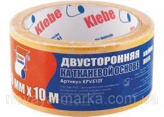 Стрічка клейка двостороння, 38 х 10, на тканинній основі, Сибртех 88810