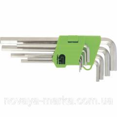 Набір ключів имбусовых Tamper-Torx, 9 шт: TTT10-T50, 45x, загартовані, подовжені, нікель.//Сибртех 12322