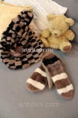 Красивые и очень теплые варежки из меха норки