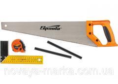Набір столярний, 5 предметів (олівець-2шт., ножівка 450мм, кутник будівельний) Sparta 23902
