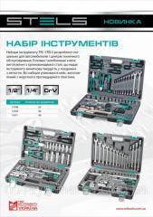 """Набор інструментів, 1/2"""", 1/4"""",  CRV, пластиковий кейс 98 предм.// STELS 14111"""