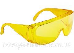 Окуляри захисні відкритого типу, жовті, ударостійкий полікарбонат, Сибртех 89157