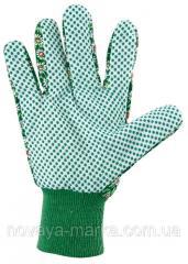 Рукавиці садові х/б тканина з ПВХ крапкою, манжет, M PALISAD 677628