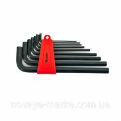 Набір ключів імбусових HEX, 2,0-12 мм, CrV, 9 шт., оксидовані, подовжені MTX 112279