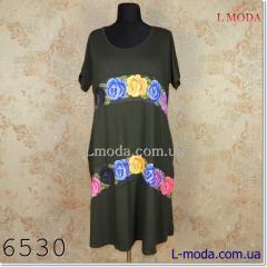 Платье с коротким рукавом полоса из цветов, арт. 036-4570
