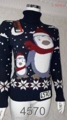 Свитер с пингвином 44, Белый
