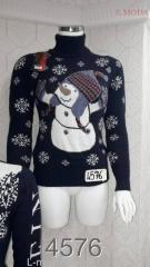Свитер женский с снеговиком 44, Синий