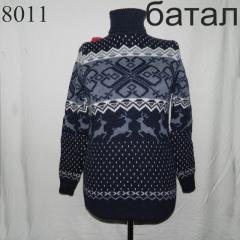 Свитер с орнаментом 50, Бордовый, арт. батал 4045-0