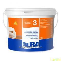 Интерьерная акрилатная  краска с высокими малярными характеристиками для стен и потолков Aura Luxpro 3. Ведро 10л.