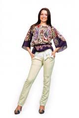 Женские брюки молодежные (81 модель Белый пояс)