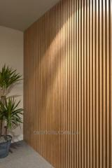 Wooden laths in an interior.