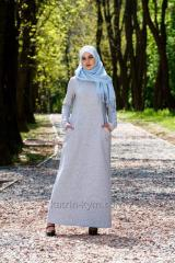 Dress light gray, basic with a relief