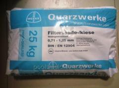 Quartz sand filter for swimming pool, the fraction of 0.7 to 1.25 mm.